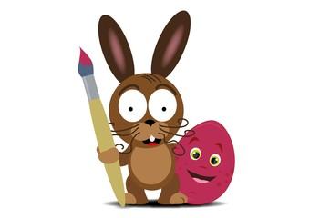 Obraz Wielkanoc,pisanki,farbki,kurczak,królik - fototapety do salonu