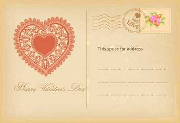 Valentines day vintage postcard with lace heart. Vector illustration.