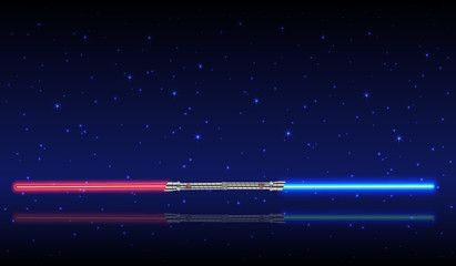 Light swords. Weapon futuristic from star war, shiny fight, vector illustration