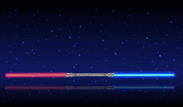 Light swords. Weapon futuristic from star war, shiny fight, vector illustration