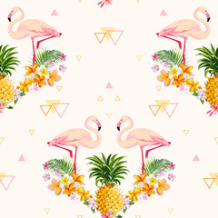 Geometric Pineapple and Flamingo Background - Seamless Pattern