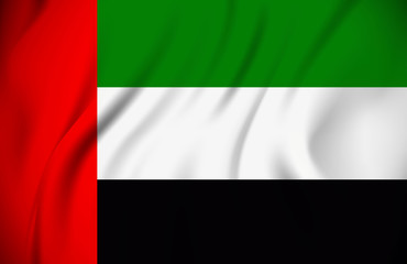 waving flag of the United Arab Emirates on silk material