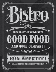 Bistro restaurant hand drawn calligraphic blackboard design