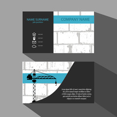 Brick Wall and crane Business Card . Vector illustration eps 10