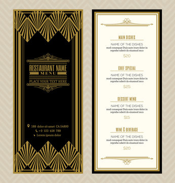 Restaurant or cafe menu design template with vintage retro art deco frame