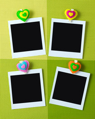 Instant photo frames with heart shape peg