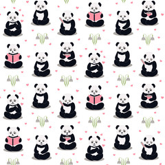 Pandas cartoon pattern.