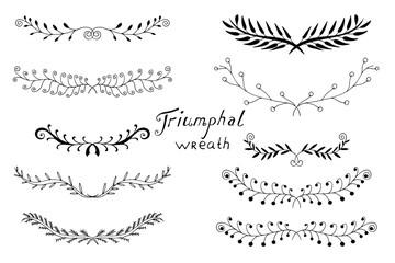 hand drawn laurels