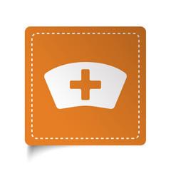 White flat Nurse icon on orange sticker
