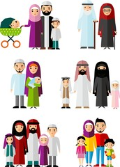 Traditional muslim family with children and maturity.  Set of vector  illustration arab  family in national clothes.