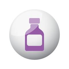 Flat purple Medicine Bottle icon on 3d sphere
