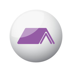 Flat purple Roof icon on 3d sphere
