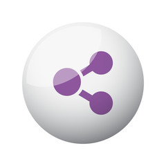 Flat purple Share icon on 3d sphere