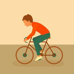 kid riding bike, boy cycling, vector cartoon bicycle