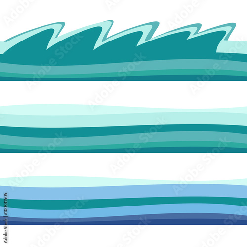 Seamless Ocean Sea Water Waves Vector Backgrounds Set For