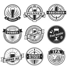 Craft beer labels. Traditional german, belgian and british beer styles. Weissbier, pilsner, rauchbier, dubbel, blanche, fruit lambic, brown ale, stout and IPA. Vintage craft beer emblems.