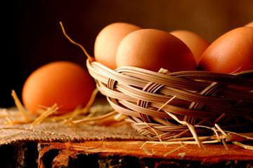 Eggs on wooden.