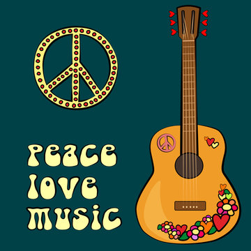 PEACE LOVE MUSIC text design with peace symbol and guitar