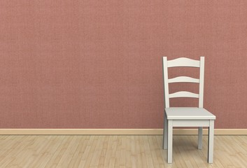 Pink fabric wall texture with a chair