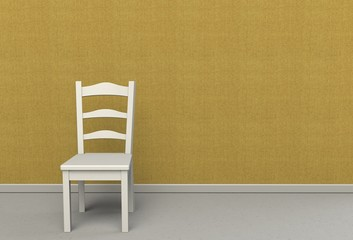 Yellow fabric wall texture with a chair