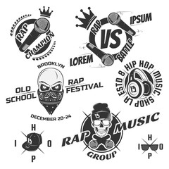 Set of vintage rap emblems, labels and design elements. Monochrome style.