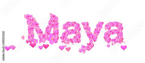 """Maya female name set with hearts type design"" Stock photo ..."