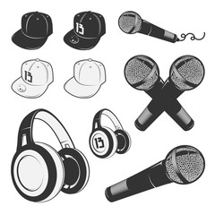 Set of vintage rap design elements. Monochrome style.