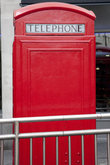 Acrylic Prints London red bus Traditional Red Telephone Box, London with Copyspace