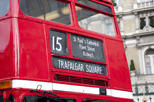 Detail on 15 Red London Bus travelling towards Trafalgar Square, London