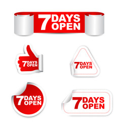 red set vector paper stickers 7 days open