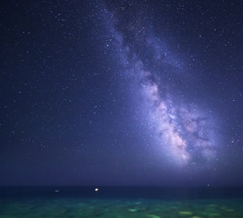 Night starry sky with Milky Way at the sea. Nature background.