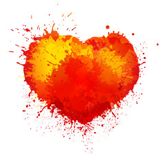 Vector trendy watercolor grunge paint splash heart on white background