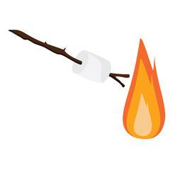 Marshmallow on wooden stick