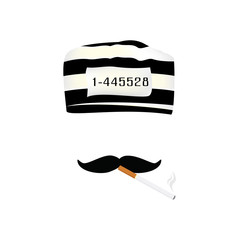 Prisoner cap, mustache and cigarette