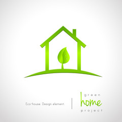 Green home logo concept with house and leaf inside