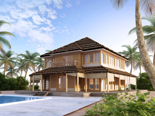Large luxury villa on oceanic islands.