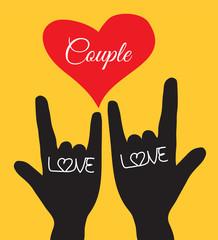 Love hand sign. Love symbol. Couple, Lover. Vector illustration