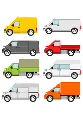 Cartoon van truck set on a white background. Vector