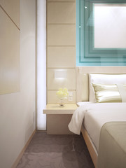 Bed with wall mounted bedside table