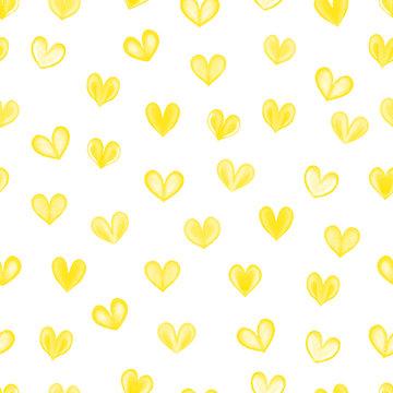 Watercolor hearts seamless pattern. Yellow hearts seamless pattern. Hand drawn illustration.