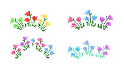 Tulips flowers illustration. Vintage set. Isolated spring vintage tulip