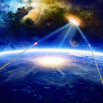 Aliens spaceship hits planet Earth