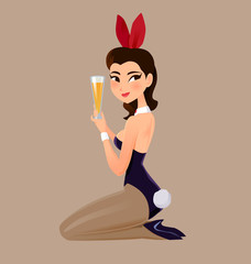 Girl in rabbit dress and hold glass of beer.