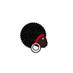 Vector avatar of African woman with traditional hairdress. Isolated white background