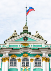 Facade of Hermitage Museum - Winter Palace closeup, Saint Petersburg, Russia