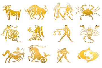 Zodiac and star signs horoscopes isolated on white
