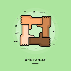 One family, flat design thin line banner, usage for e-mail newsletters, web banners, headers, blog posts, print and more