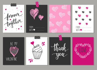 Collection of 8 cards of love design. Valentine's day Posters se