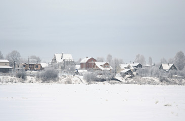 Winter view of russian village.