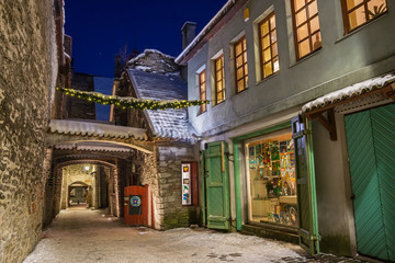 The ancient streets of medieval Tallinn